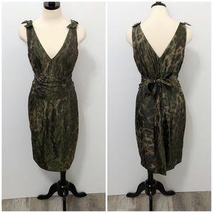 Chetta B Camouflage Deep V Neckline Party Dress